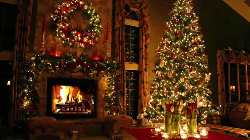 Image result for christmas tree and presents and fireplace