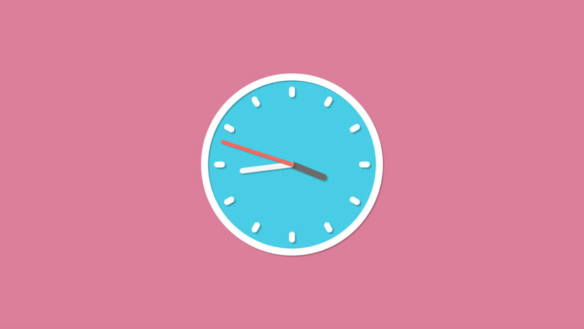 Animation Of Animated Clock Ticking showing four o'clock past 5 minutes Isolated in Pink Background