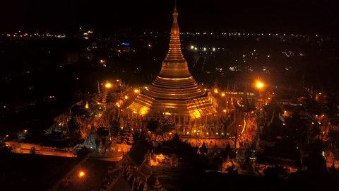 4k aerial : Shwedagon Pagoda at night,Yangon