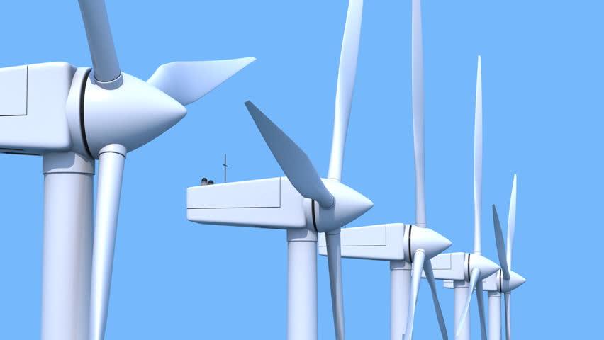 Row of wind power generators on blue background | Shutterstock HD Video #3216628