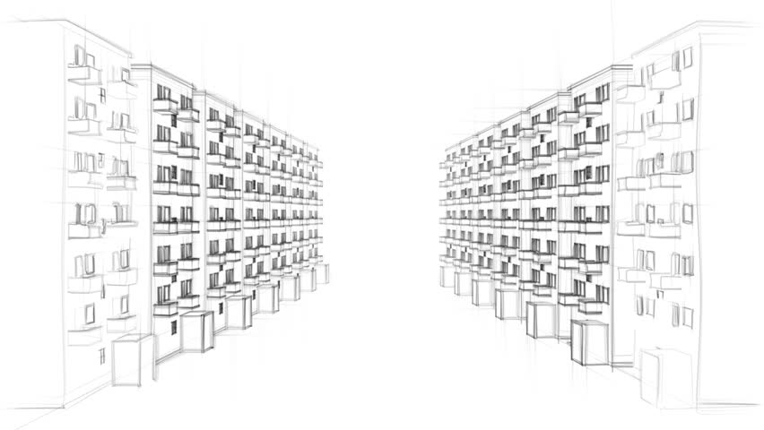 Animated Line Drawing Of A Residential Street With Many Apartment