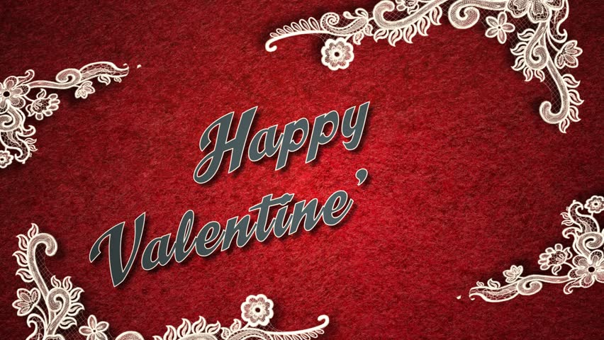 Valentine video using animated embroidery/doilies with a romantic message.