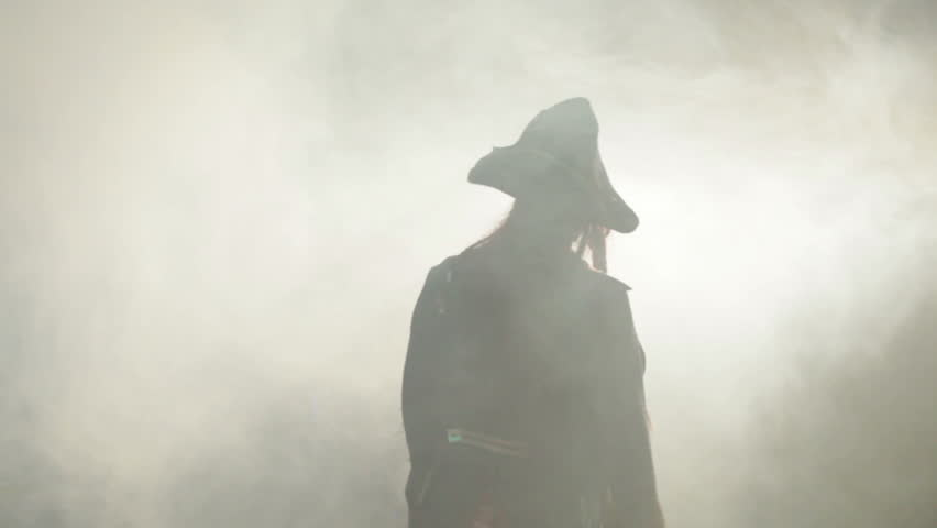 The pirate goes to the fog.