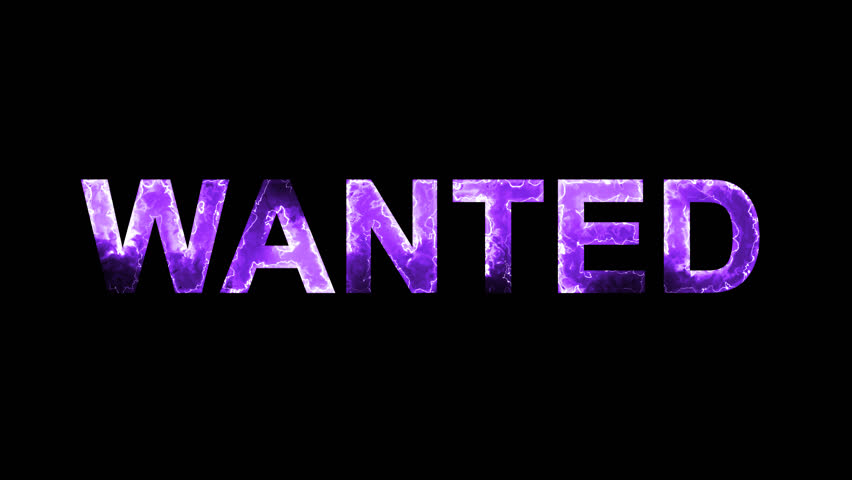 Luminous and shimmering haze inside the letters of the word WANTED. Transparent, Alpha channel   Shutterstock HD Video #32197417