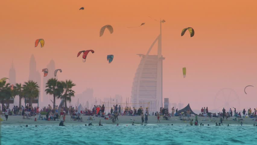 10/27/2017. Kite beach in Jumeirah, Dubai, United Arab Emirates. A stretch of the beach designated for the kite surfers. The iconic Burj Al Arab is seen on the background.