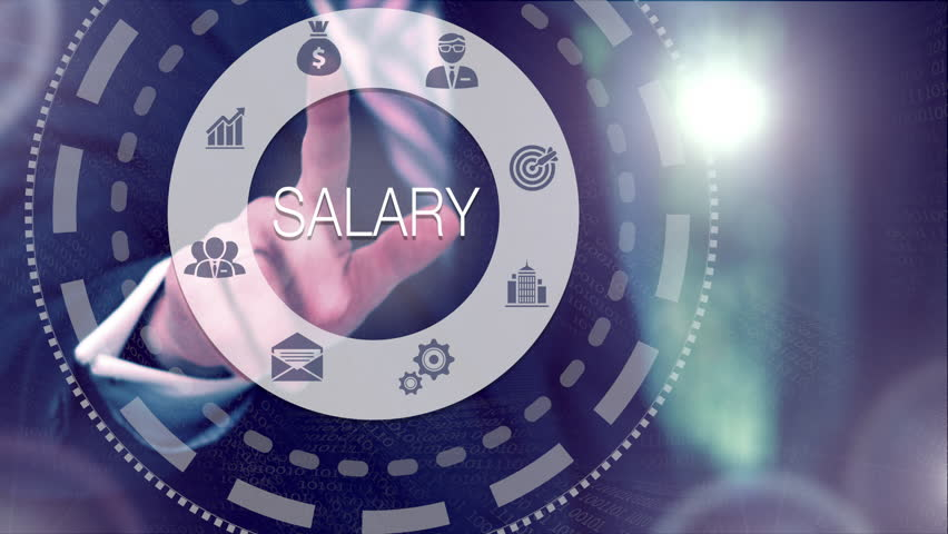 Businessman selecting and then pressing a Salary button on a clear projection screen | Shutterstock HD Video #32215237