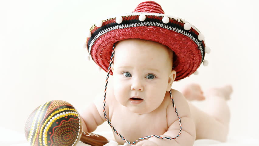 Baby in Sombrero Hat with Stock Footage Video (100% Royalty-free ... 0f30927fe34