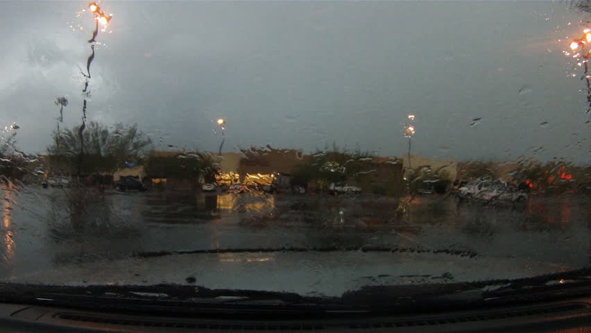 Lightning strikes from a driver's POV - slo mo and normal speed