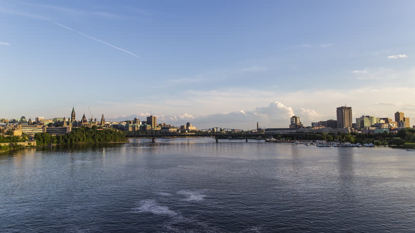 Ottawa and Gatineau City Skyline Day to Night Time Lapse, Downtown Quebec, Ontario,