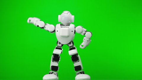 Dancing customized toy robot. Humanoid robot performs various movements. Green screen.