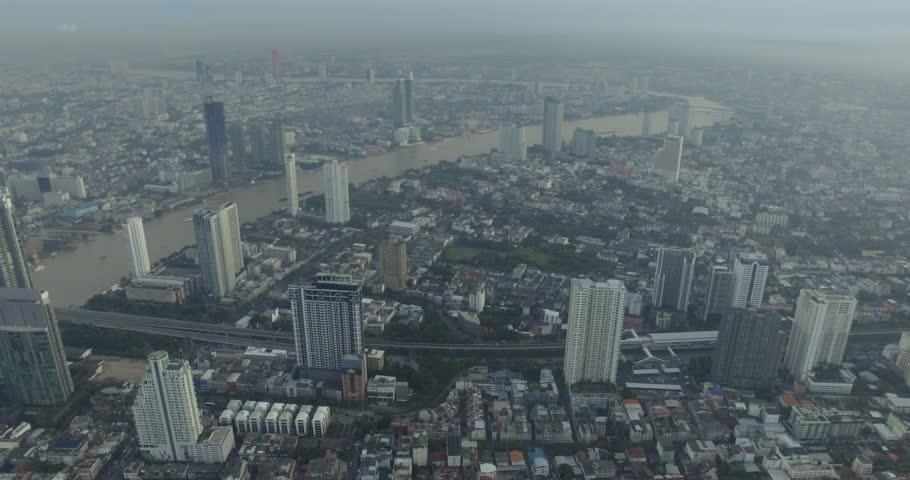 Aerial view of Chao Phraya river in Bangkok, Thailand | Shutterstock HD Video #32271607