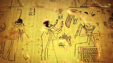 Animation Of Funerary Papyrus From Ancient Egypt. Book Of The Dead With Osiris God