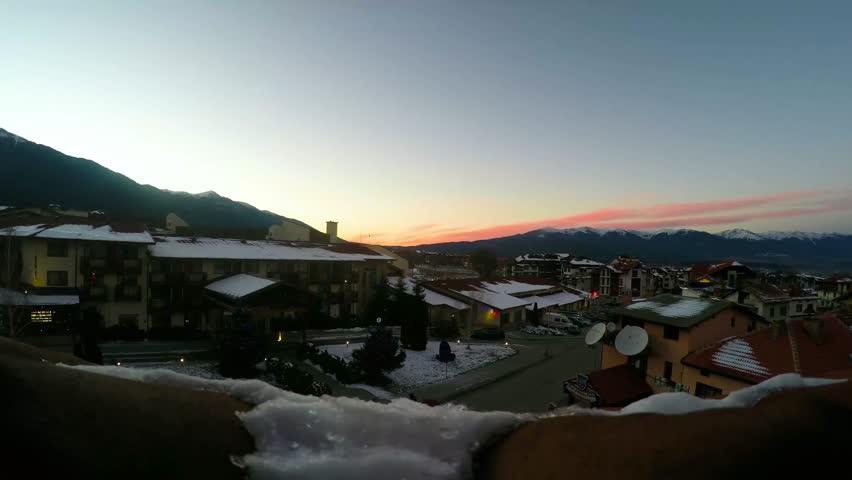 Bansko Town Ski Resort Sunset Time Lapse December 2016