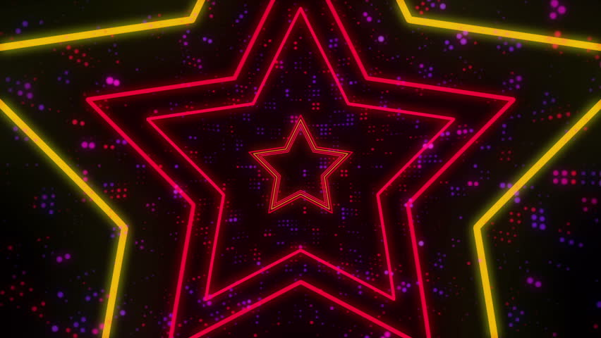 Disco star neon lights looped animation for music videos, night clubs, LED screens, fashion show, christmas and new year events | Shutterstock HD Video #32286187