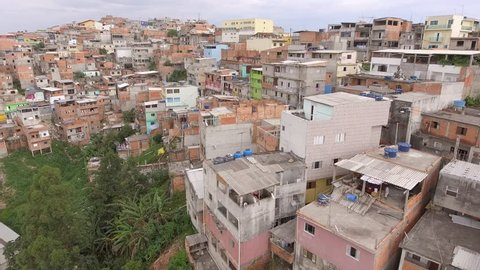 A drone view of a slum, in Vila Nova Galvao district, Guarulhos city, Brazil