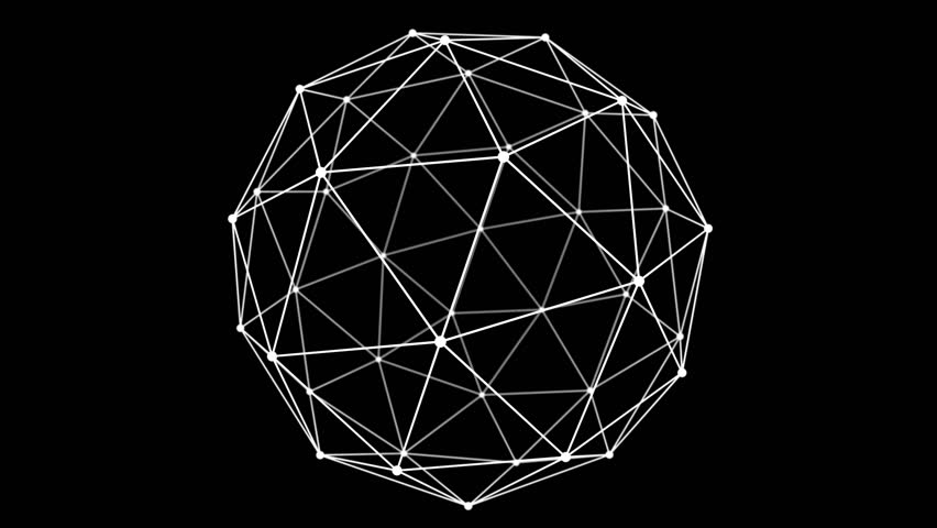 Sphere rotate loop cycle footage. Animation cycle plexus lowpoly triangulate future style on black background