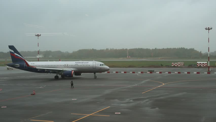 Kaliningrad, Russia - OCtober 12, 2017: Aeroflot plane at the airport Khrabrovo