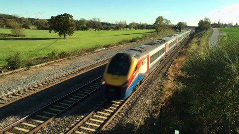 Northamptonshire, UK - October, 28, 2017: East Midlands Meridian diesel unit passenger train heading north on the Midland Railway line through the Northamptonshire countryside in England.