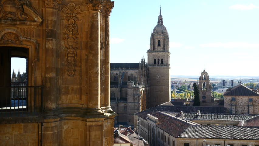 views of the cathedral of Salamanca from one of the towers of the Clerecía. Salamanca, Castilla y León, Spain. Filmed in November 2017.