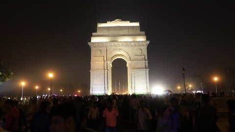 New Delhi, India - October 20, 2017 : At Night Local and Foreigner Tourist visited India Gate One of the largest tourist attraction landmark in New Delhi, India