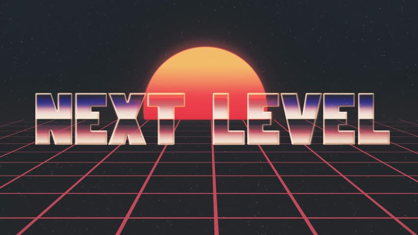 shiny retro 80s style lazer next level text words fly in and out on grid sun stars animation background -new unique vintage beautiful dynamic joyful colorful video footage