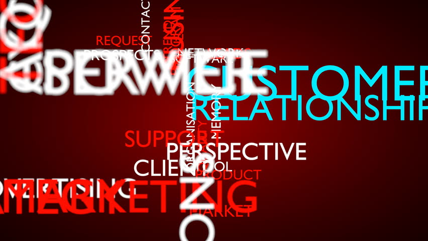 Customer relationship management (CRM) word tag cloud. 3D rendering, loop able, red variant, UHD