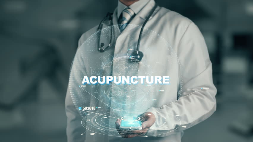 Doctor holding in hand Acupuncture