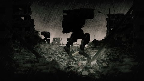 Dangerous sign animation. Post apocalyptic scene with military robots