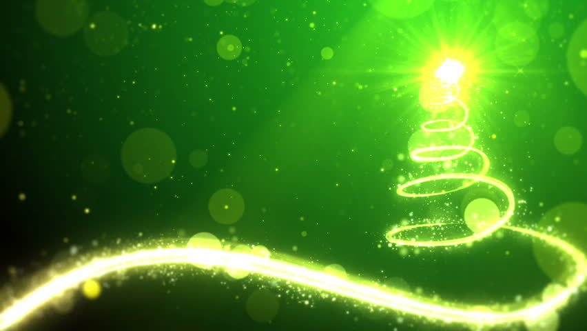 Christmas tree lights on green background with copy space for text placeholder.