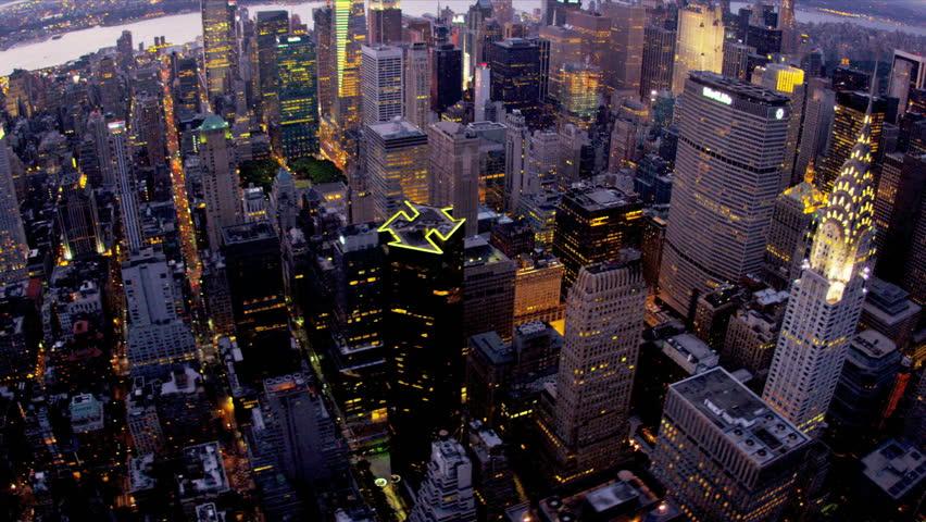 New York - August 20, 2012: Aerial view Chrysler Building illuminated dusk New York