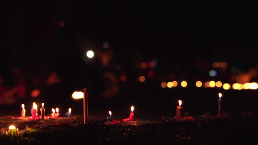 Burning Candles On The Sidewalks During Malaysia Mid-Autumn Festival