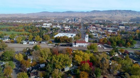 Fall color flyby of the Train depot in Boise Idaho in autumn