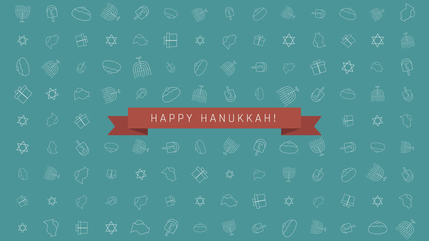 Hanukkah Holiday Flat Design Animation Background With Traditional