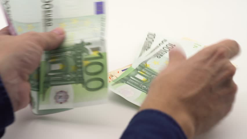 4K Dolly sliding shot of hands counting euros bills of different values. Euro cash money. To count money income. Real banknotes hundred euros. Good earnings. Issuing the salary. Credit percent-Dan   Shutterstock HD Video #32473177