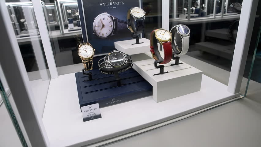 BASEL – MARCH 22: Vintage watches exhibited at Wyler Vetta booth at the watches and jewelry show Baselworld in Basel, Switzerland, on March 22, 2017  #32510797