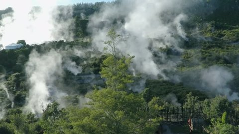 WS AERIAL Hot spring in forest / Rotorua, North Island, New Zealand