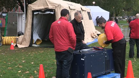 Toronto, Ontario, Canada November 2017 Medical workers at tent in Toronto park for drug addicts to use heroin opioids