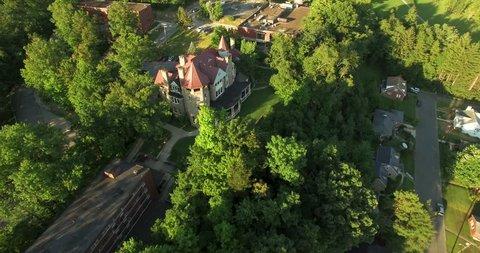 Aerial view over Graceland Inn on the campus of Davis & Elkins College in Elkins, West Virginia.