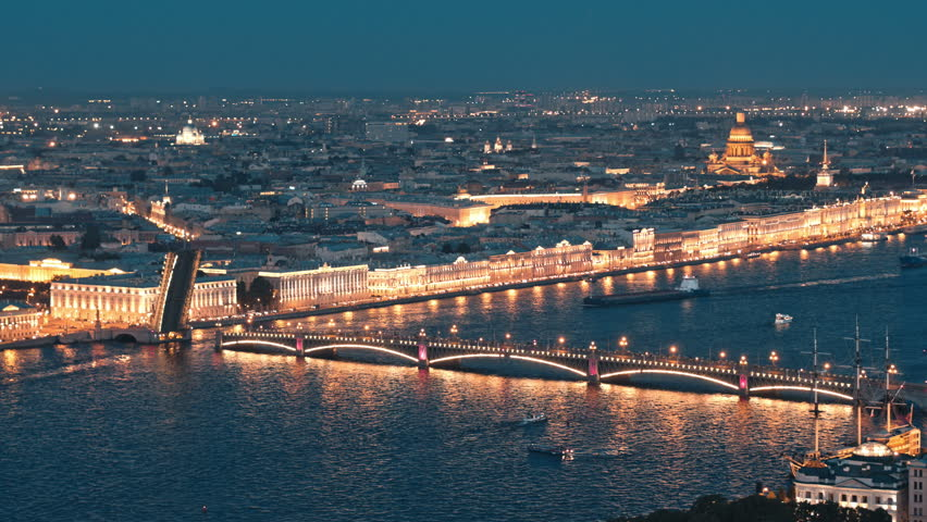Aerial view of night city and Neva river during white nights | Shutterstock HD Video #32584147