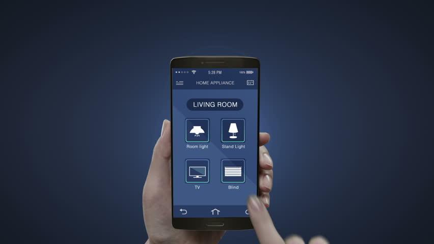 Touching Iot Mobile Application Living Room Light Energy