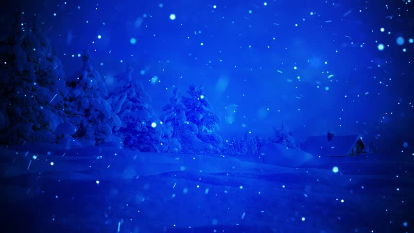 Winter snowing blue background