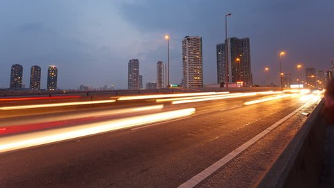 Timelapse video, traffic in city at evening