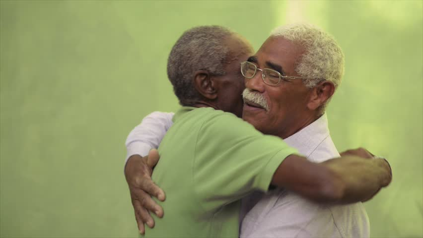 Active retired old men and leisure, two senior black brothers talking and hugging in park. Sequence   Shutterstock HD Video #3261805