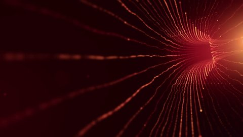 Abstract background with animation of fast moving in tunnel from lines fiber optic network. Magic flickering dots or glowing flying lines. Animation of seamless loop.