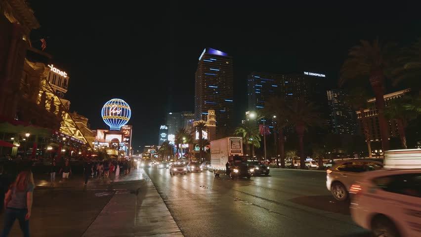 Famous strip - Las Vegas Boulevard at night - LAS VEGAS / NEVADA - OCTOBER 12, 2017 | Shutterstock HD Video #32656717