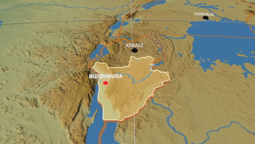Stock Video Clip of Burundi shape animated on the physical map