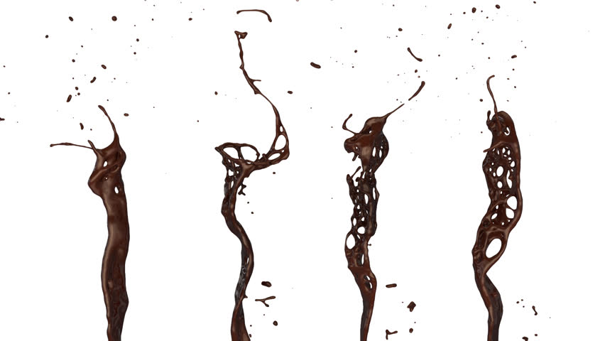 close-up view of coffee splashes in slow motion, isolated on white (FULL HD)