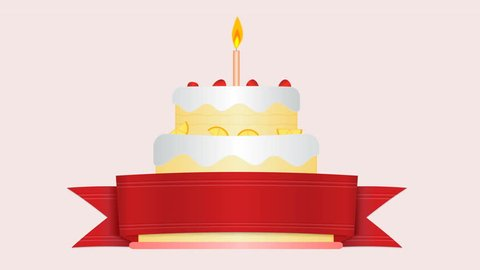 Animation Of Flat Design Birthday Cake With Candle Flame Seamless LoopsAlpha Channel Included