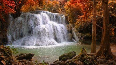 Beautiful waterfall in the national park forest at Huai Mae Khamin Waterfall, Kanchanaburi Thailand