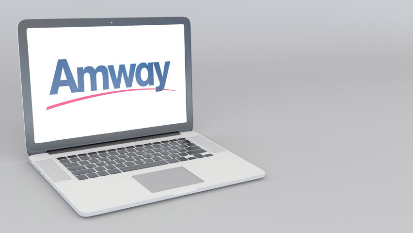 4k0006Opening And Closing Laptop With Amway Logo 4K Editorial Animation